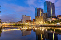 Modern Bilbao and the river Nervion at night