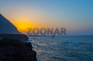 landscape with sunset in El Hierro Island