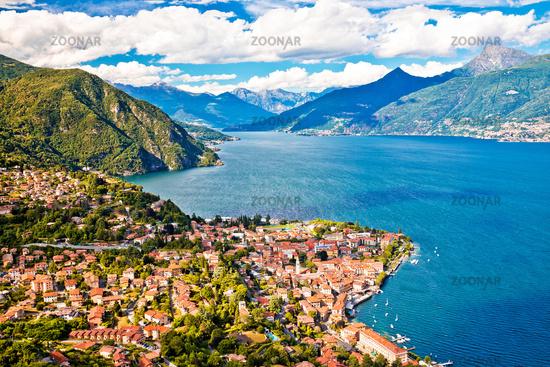 Como Lake and town of Menaggio aerial view