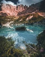 mountain lake Sorapis (Lago di Sorapis), Dolomites, Alps, Italy