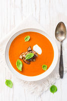 Homemade tomato soup with grilled eggplant