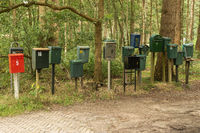 Collection of mailboxes on the road