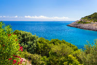 View of the bay at the Village Poljana campsite on the island of Losinj in the Kvarner archipelago in Croatia - also known as the Island of well-being and vitality