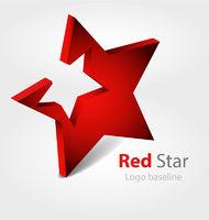 Red  star 3D vector logo