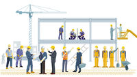 Construction worker at the construction site, illustration