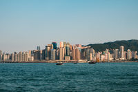 Skyline and coast of Hong Kong Island, business district of HongKong