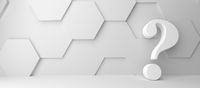 Fine 3d concept with a white question mark icon on white hexagon