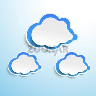 Three Blue Paper Clouds