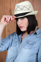 Woman wearing a Panama hat