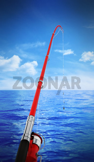 Fishing rod against sea and clear sky background. 3D illustration