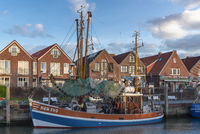 Shrimp cutter in fishing harbor in Neuharlingersiel