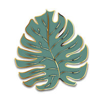Cute green palm leaf with golden outline silhouette on white