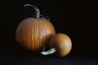 Pumpkins on black background