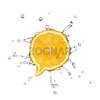 Orange in shape of dialog box with water drops isolated on white