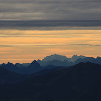 Mount Grosser Mythen, Saentis and other mountains in the Swiss Alps.