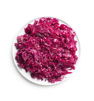 Red sauerkraut. Sour pickled cabbage on plate