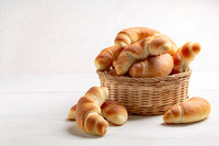 Freshly baked crescent rolled buns.