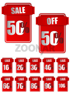 Set of Red Sale Stickers