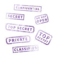 Top secret purple vintage grunge stamp collection on white