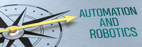 Compass needle pointing to the words Automation and Robotics - 3d rendering