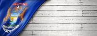 Michigan flag on white wood wall banner, USA