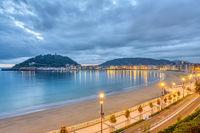 View of La Concha beach in San Sebastian, Spain, before sunrise