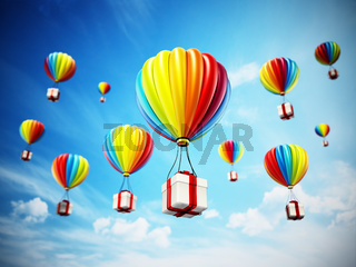 Colorful hot air balloon carying white giftbox wrapped with red ribbon. 3D illustration