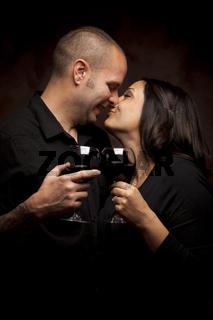 Happy Mixed Race Couple Holding Wine Glasses