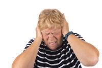 Portrait senior woman with noise disturbance
