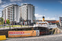 SS Nomadic, the last remaining White Star Line ship in the world. Near Titanic Museum in Belfast