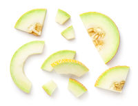 Galia Melon Pieces Isolated On White Background