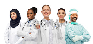 international group of doctors pointing to you