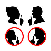 Set of face profiles with hands, shhh icon on white, please keep quiet sign