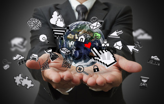 business man hands show internet concept