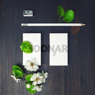 Blank stationery and flowers