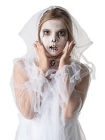 Scared Girl as Halloween ghost