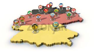 Die 16 deutschen Bundesländer als Navigation-Pins auf der Deutschlandkarte