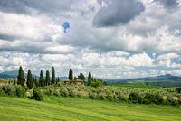 PIENZA, TUSCANY/ITALY - MAY 19 : View of a farm near Pienza in Tuscany  on May 19, 2013