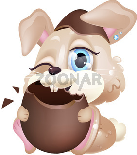 Cute bunny eating chocolate egg kawaii cartoon vector character. Pascha symbol. Adorable and funny beige animal isolated sticker, patch. Anime baby happy brown holiday rabbit emoji on white background
