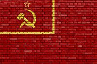 flag of Soviet Union 1924 painted on brick wall