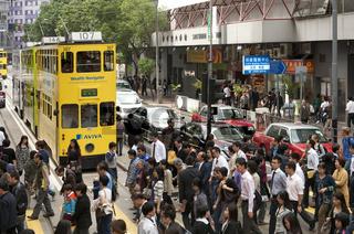 zur Verkehrsspitzenzeit in Hongkong