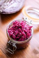 Red sauerkraut. Sour pickled cabbage