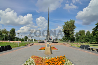 Moscow, Russia - august 25, 2020: View of alley of Cosmonauts and monument to the Conquerors of space in the Museum of cosmonautics. Moscow, Russia