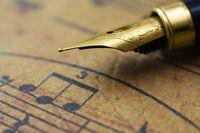 Music sheet and pen