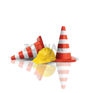 Hard cap with traffic cones isolated