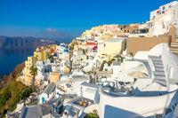 Santorini Terraces and Sunny Summer Day