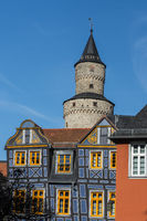 The Leaning House and Witches Tower in Idstein, Taunus, Hesse, Germany