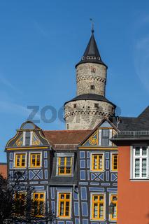 Das Schiefe Haus und Hexenturm in Idstein, Taunus, Hessen, Deutschland