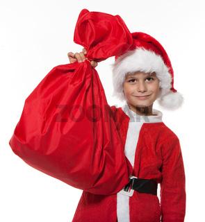 Boy holding a sack