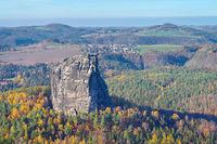 Falkenstein in der Sächsischen Schweiz, Sachsen - mountain Falkenstein in Saxon Switzerland in autumn, Germany